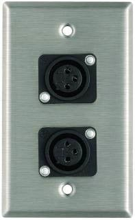 Pro Co WP1026 Plateworks Single-Gang Stainless Steel Wall Plate with 2x XLR-F Plastic Connectors WP1026