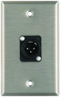 Pro Co WP1027 Plateworks Single-Gang Stainless Steel Wall Plate with 1x XLR-M Plastic Connector WP1027