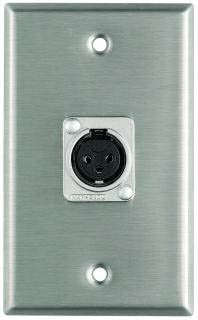 Pro Co WP1042 Plateworks Single-Gang Stainless Steel Wall Plate with 1x Latchless XLR-F Connector WP1042