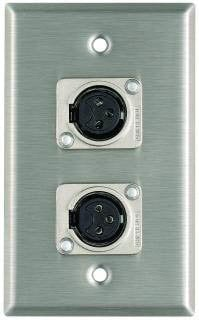 Pro Co WP1043 Plateworks Single-Gang Stainless Steel Wall Plate with 2x Latchless XLR-F Connectors WP1043