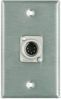 Pro Co WP1050 Plateworks Single-Gang Stainless Steel Wall Plate with 1x 5-Pin XLR-M Connector for DMX WP1050