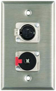 "Pro Co WP1055 Plateworks Single-Gang Stainless Steel Wall Plate with 1x XLR-F, 1x Locking 1/4"" TRS WP1055"