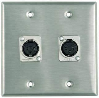 Pro Co WP2009 Plateworks Dual-Gang Stainless Steel Wall Plate with 2x Latchless XLR-F Jacks WP2009