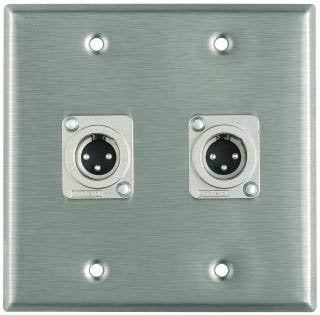 Pro Co WP2010 Plateworks Dual-Gang Stainless Steel Wall Plate with 2x XLR-M Connectors WP2010