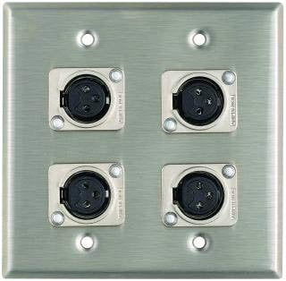 Pro Co WP2011 Plateworks Dual-Gang Stainless Steel Wall Plate with 4x XLR-F Connectors WP2011