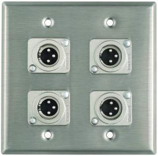 Pro Co WP2012 Plateworks Dual-Gang Stainless Steel Wall Plate with 4x XLR-M Connectors WP2012