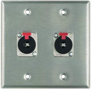 "Pro Co WP2021 Plateworks Dual-Gang Stainless Steel Wall Plate with 2x Locking 1/4"" TRS Jacks WP2021"