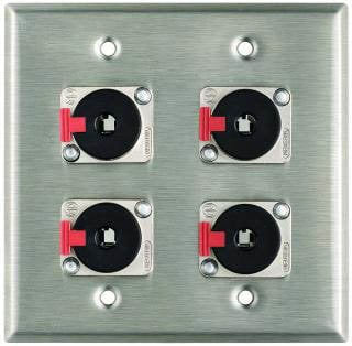 "Pro Co WP2023 Plateworks Dual-Gang Stainless Steel Wall Plate with 4x Locking 1/4"" TRS Jacks WP2023"