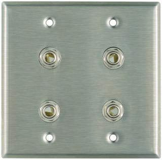 """Pro Co WP2024 Plateworks Dual-Gang Stainless Steel Wall Plate with 4x 3-Conductor 1/4"""" TRS Jacks WP2024"""