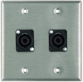 Pro Co WP2032 Plateworks Dual-Gang Stainless Steel Wall Plate with 2x NL4MP Speakon Connectors WP2032