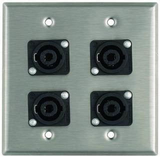 Pro Co WP2033 Plateworks Dual-Gang Stainless Steel Wall Plate with 4x NL4MP 4-Conductor Speakon Connectors WP2033