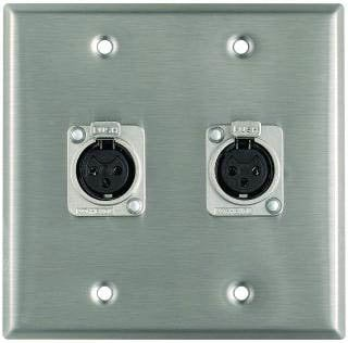 Pro Co WP2034 Plateworks Dual-Gang Stainless Steel Wall Plate with 2x Latching XLR-F Connectors WP2034
