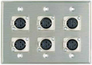 Pro Co WP3002 Plateworks Triple-Gang Stainless Steel Wall Plate with 6x 3-Conductor Latching XLR-F Connectors WP3002