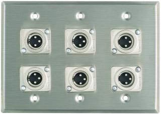 Pro Co WP3004 Plateworks Triple-Gang Stainless Steel Wall Plate with 6x 3-Conductor XLR-M Connectors WP3004