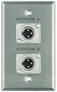 "Pro Co WPE183 Plateworks Single-Gang Stainless Steel Engraved Wall Plate with 2x XLR-Ms: ""Intercom A"" & ""Intercom B"" WPE183"