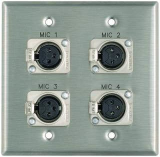 "Pro Co WPE201 Plateworks Dual-Gang Stainless Steel Engraved Wall Plate with 4x Latching XLR-Fs: ""Mic 1"", "" Mic 2"", ""Mic 3"", ""Mic 4"" WPE201"