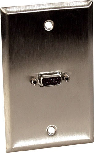 TecNec WPBA-1138  Single Female VGA Wall Plate, Black WPBA-1138