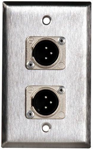 TecNec WPL1114  1 Gang Stainless Steel Plate 2 Neutrik 3-Pin XLR WPL1114
