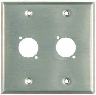 """Pro Co WPU2009 Plateworks Dual-Gang Stainless Steel Wall Plate with 2x """"D-Series"""" Punch Outs WPU2009"""
