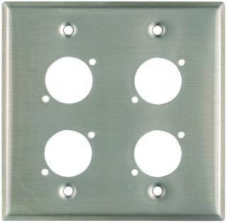 """Pro Co WPU2011 Plateworks Dual-Gang Stainless Steel Wall Plate with 4x """"D-Series"""" Punch Outs WPU2011"""