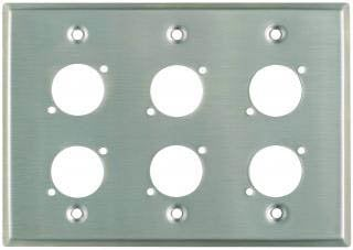 "Pro Co WPU3002 Plateworks Triple-Gang Stainless Steel Wall Plate with 6x ""D-Series"" Punch Outs WPU3002"