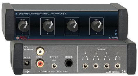 RDL EZ-HDA4B 1x4 Headphone Distribution Amplifier EZ-HDA4B