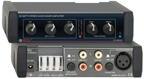 Radio Design Labs EZ-MXA20 20 Watt Stereo Mixer Amp with Tone Controls EZ-MXA20