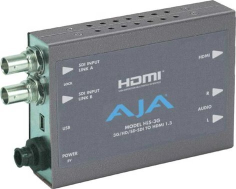AJA Video Systems Inc Hi5-3G SD/HD/Dual-Link/3G-SDI to HDMI 1.3a Video & Audio Mini Converter with Power Supply HI5-3G