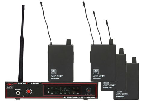 Galaxy Audio AS-900-4 Any Spot Series Wireless Band Pack with 1 Transmitter, 4 Receivers and EB4 Ear Buds AS-900-4