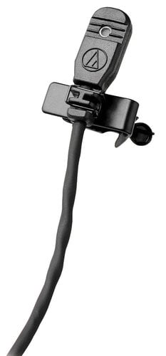 "Audio-Technica MT830cT5 Lavalier Microphone, Omnidirectional, Condenser, 55"" Cable, Terminated with TA5F Connector for ATW-U101 and Lectrosonics Wireless Systems, Black MT830CT5"