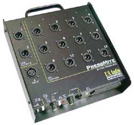 150 Ohms Mic and 600 Ohms Line Output Impedance Whirlwind PressMite 1 Line In to 12 Mic//2 Line Out Active Press Box