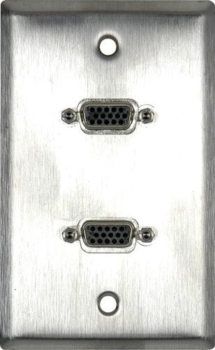 TecNec WPLB-1139 1G Brown Lexan Wall Plate with 2 VGA HD 15-Pin Female Barrels WPLB-1139