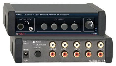RDL EZ-HSX4 Stereo Switcher with Headphone Amplifier EZ-HSX4