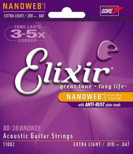 Elixir Strings 11002 Extra Light 80/20 Bronze Acoustic Guitar Strings with NANOWEB Coating 11002