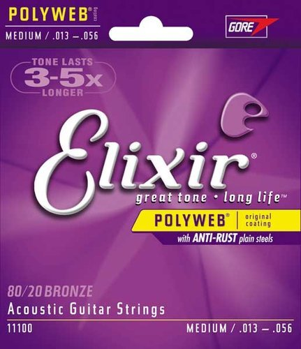 Elixir Strings 11100 Medium 80/20 Bronze Acoustic Guitar Strings with POLYWEB Coating 11100