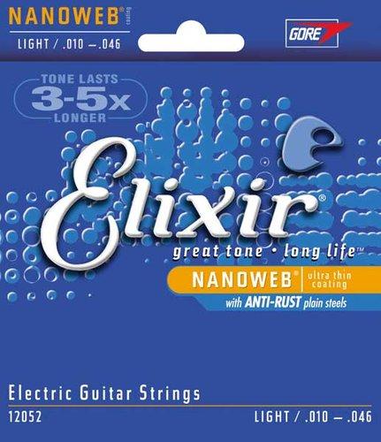 Elixir Strings 12052 Light Electric Guitar Strings with NANOWEB Coating 12052