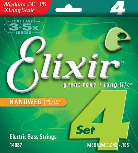 Elixir 14087 Medium Extra Long Scale Electric Bass Strings with NANOWEB Coating 14087