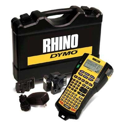 Dymo 1756589 Rhino 5200 Industrial Label Printer Hard Case Kit with Li-Ion Battery, AC Adapter, and 2 Rolls of Industrial Tapes 1756589