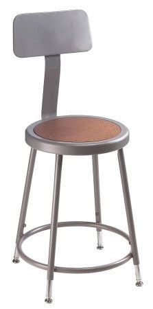 "National Public Seating 6218B  Stool, 18"" w/Hardboard Seat and Backrest 6218B"