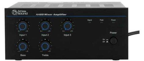 Atlas Sound AA60 3 Channel 60W Mixer Amplifier AA60