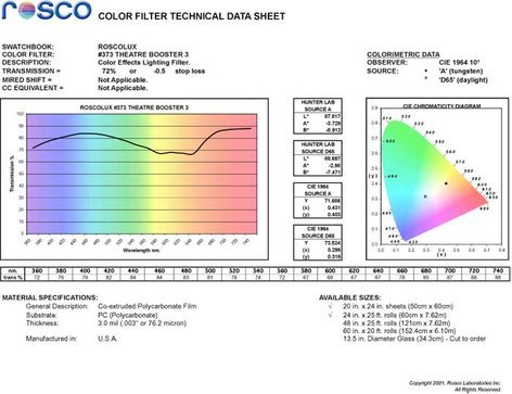 Rosco 373 Roscolux Theater Booster 3 Filter 373