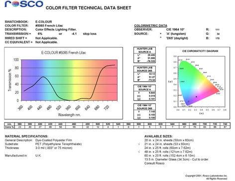 Rosco Laboratories 5085  E-Colour French Lilac Filter Sheet 5085