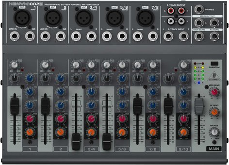 Behringer XENYX 1002B 10-Input 2-Bus Mixer with Optional Battery Operation XENYX-1002B