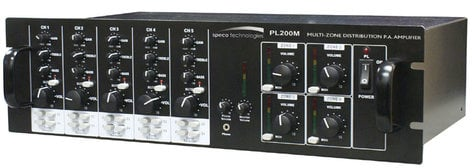 Speco Technologies PL200M 4-Zone 160W Commercial Amplifier with 25/70V and Low Impedance Outputs PL200M