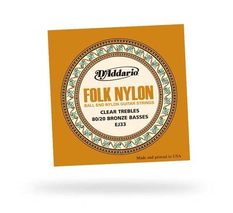 D`Addario EJ33 Folk Nylon/Brinze Ball End Classical Guitar Strings EJ33