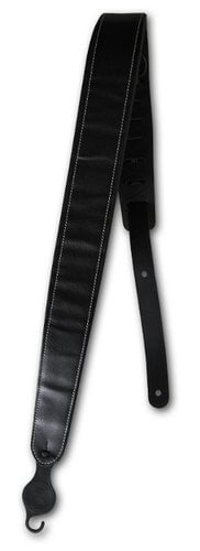 "Planet Waves 20PLC00-DX 2"" Wide Black Leather Deluxe Padded Guitar Strap with Contrast Stitch 20PLC00-DX"