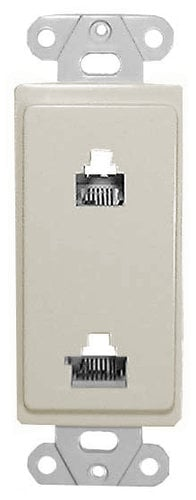 Philmore 75-4680 Designer Wall Plate (Dual 6 & 8 Conductor (6P6C / 8P8C) for Voice & Data) in Ivory 75-4680