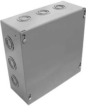"""Ace Backstage Co. WB10X10X4  Wall Box with Knock Outs, 10"""" x 10"""" x 4"""", Gray Enamel Finish WB10X10X4"""