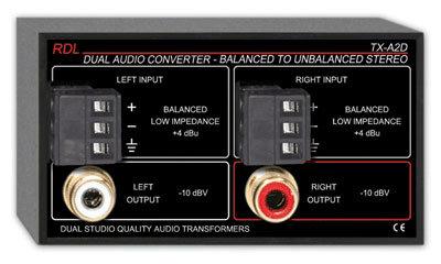 RDL TX-A2D 2 Channel Balanced to Unbalanced Stereo Audio Converter TX-A2D