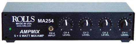 "Rolls MA254 5W Stereo Mixer Amp (4x RCA, 1/8"" Stereo Inputs) MA254"